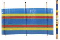 NEW MULTI Stripes 4 Pole Windbreak H120 X W220cm Beach Camping Wind Jammier UK