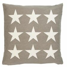 STARS BEIGE TAUPE CREAM WOVEN 100% COTTON  CUSHION COVER