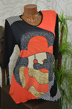 Tunika Longshirt Print Edel Exclusiv Motiv Frau mit Hut 3/4 Arm schwarz rot 40
