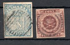 NORWAY , DENMARK , 1851 , 1855 ,  BOTH COUNTRIES FIRST STAMP , USED