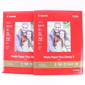 "Canon Photo Paper Plus Glossy II 8.5"" x 11"" 40 Sheets PP-201 Lot of 2"