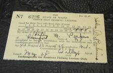 1938 Maine Three Day Official Fishing License Vintage Yellow Sports Souvenir