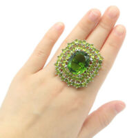 44x41mm Big Size 16.4g Green Peridot Gift For Woman's Making Silver Ring Us 7.0#