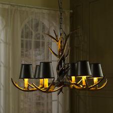 6 Head Deer Antler Horn European Style Retro Resin Candle Chandelier Lamp