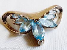 Sterling Silver 925 Marquise cut Blue Topaz  slide Pendant
