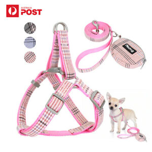 Dog Harness No Pull Nylon Print Adjustable Dog Harness Bag Leash Set S/M