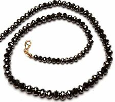 Super Quality Natural Black Diamond Big Size 4.5 to 7MM Rondelle Beads Necklace