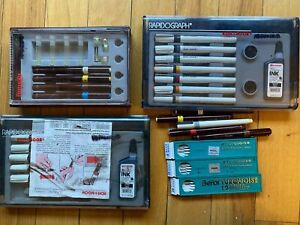 Lot of Vintage Drafting Supplies - Koh-I-Noor Rapidograph Pens - Drawing Leads