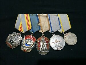 ☭Military Russian Soviet Medals x5 Glory 3 Red Banner Honour Bravery Combat WWII