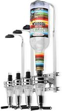 Rotary Wall Mounted 4 Bottle Stand Optic Dispenser Wine Spirits Steel Bar Butler