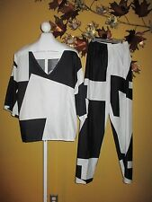 VTG NWOT Catherine Ogust Penthouse Gallery Pantsuit Black & White  Size L Cotton