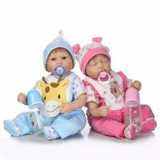 17'' Reborn Twins Dolls Boy Girl Vinyl Silicone Baby Doll Newborn Preemie 2pcs