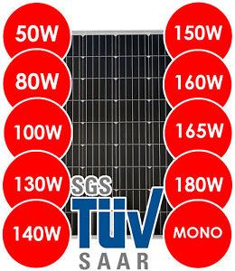 Solarmodul Solarpanel Solarzelle 50 80 100 130 140 150 160 165 180 Watt Mono