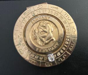Vintage Aquarius Money Clip Gold Diamond Zodiac Signed Pierre Cardin