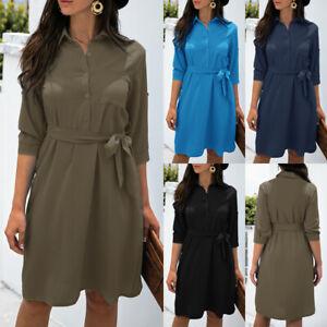 Women Ladies Collared Waist Belted Button Dresses Autumn Long Sleeve Shirt Dress