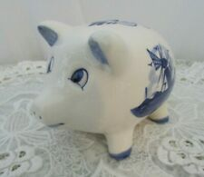 Delft Blue Piggy Bank ~ Made in Holland Floral~ Windmill Design w Stopper