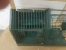 Vintage antique Hamster Gerbil Mouse Metal Cage with exercise wheel green