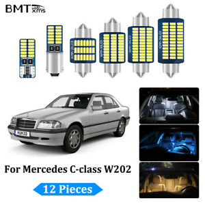 12X White Canbus LED Interior Lights Package Kit for Mercedes Benz C W202 93-99