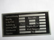 Typenschild s39 Schild DDR IFA VEB Boot Segelboot Motorboot
