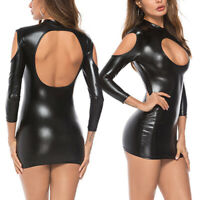 Women Sexy Long Sleeve Hollow Faux Leather Backless Clubwear Mini Dress S-5XL
