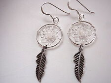 Moonstone Dream Catcher Sacred Feather Dangle Earrings 925 Sterling Silver