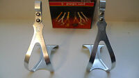 Vintage NOS Classic 80's George Sorel ERGAL Silver Toeclips 4 Colnago Bianchi