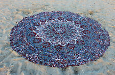 "Indian Hippie Mandala 50"" Round Beach Rug Ethnic Star Tapestry Roundie Yoga Mat"
