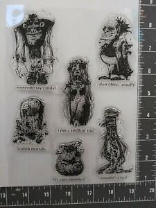 New Acrylic stamp Set Halloween Monster 6pc GOTHIC Sugar skull girl love Witch