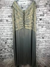 KM Collection Formal Dress Size 20W Mother Of The Bride Wedding Gray Gold Lined