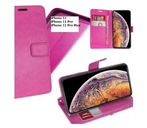 Pink Wallet Cover Magnetic Clip With Stand For iPhone 11 / 11 Pro / 11 Pro Max