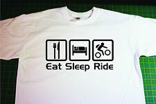 Eat, Sleep, Mountain Bike T-Shirt. In White. Size Large. Cycling, MTB