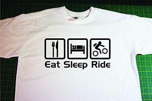 Eat, Sleep, Mountain Bike T-Shirt. In White. Size Extra Large. Cycling, MTB
