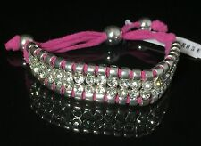 Robert Rose Pink Suede Leather AB Rhinestone Crystal Silver Shamballa  Bracelet