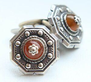 Vintage Amber Baltic Honey Silver Cufflinks 10,8 gram 波羅的海琥珀