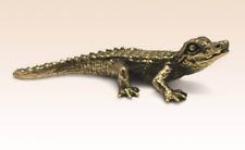 Miniature Bronze Figurine Crocodile Cayman sculpture art manual processing rare