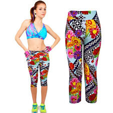 Womens Sport Pants High Waist Printed Stretch Cropped Fitness YOGA Leggings