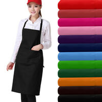 Plain Catering Apron with Front Pocket Chef Kitchen Cooking Craft Baking UK NEW