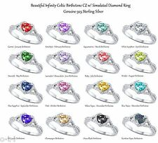 Heart Cut Promise Infinity Celtic Birthstone Sterling Silver Ring Size 4 - 13