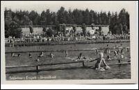 Schlettau Sachsen Erzgebirge DDR Postkarte ~1950/60 Partie im Strandbad Personen