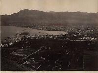 Italia Sicilia Palermo Panorama Foto G.Sommer Vintage Albume D'Uovo Ca 1880