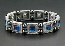 Blue Crystals Magnetic Bracelets Hematite Beads Therapy Silver Free Shipping