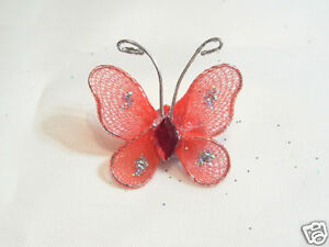 Wholesale pack of 100 Gauze Butterfly Embellishments: BNGB13 Flame 20mm x 25mm