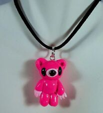 Pink BABY TEDDY BEAR Polymer Clay HAND MADE Charm or Pendant Cosplay Bear