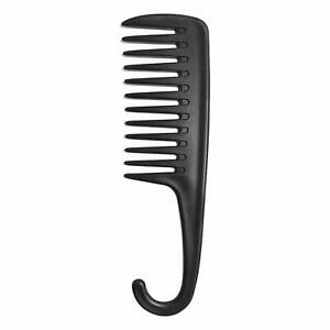 Wapodeai Wide Tooth Comb Shower Comb With Hook, Good for Curly Hair Wet Dry Blac