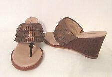 Tommy Bahama Melita Bronze Suede Fringe Heels sz 8 B Wedges Thongs Sandals Shoes