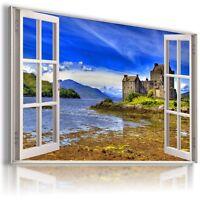 ENGLAND CASTLE EILEAN DONAN 3D Window View Canvas Wall Art Picture  W480