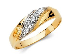 Men's Diamond Round Cut Engagement Wedding Band 14k Solid Yellow Gold 6 mm