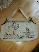 Cute Vintage Knitting Sewing Bag Tote With Cross stitch Designs Wooden Staves