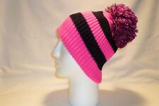 LUXURY PINK AND BLACK STRIPED BOBBLE HAT BEANIE FLEECE LINED MENS WOMENS KIDS
