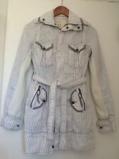 Free People Trench Coat White/Grey Sz XS Vintage Excellent Condition